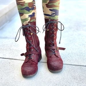 ALDO oxblood ankle combat boots lace up red Moto 9
